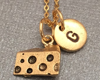 Cheese necklace, cheese charm, food necklace, personalized necklace, initial necklace, initial charm, monogram