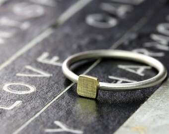 Silver Ring 925 with square 4 mm from 333 yellow gold (8k) stacking ring, Beisteckring