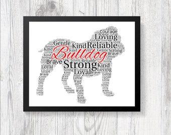 Personalised BULLDOG Word Art Print Gift Keepsake Pedigree All Breeds Available Perfect for Birthdays Christmas Etc