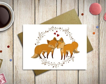 Valentine card with foxes in love - love card - anniversary card - wedding gift card - valentines day gift - card for her - animal love