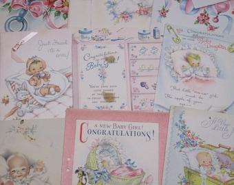 Vintage Greeting Card Lot-Ephemera-Mixed Media-Paper-Crafts-Scrap Booking-Baby-Children's-Set of 9