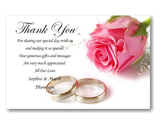 50 Personalised Wedding Day , Wedding Evening Thank You Thankyou Cards Ref W6 With self seal envelopes