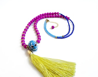 Long Tassel Bohemian Necklace, Sugar Skull Statement Necklace, Dia De Los Muertos Jewelry