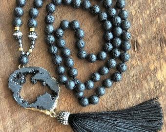Lava Druzy Mala Necklace, Jasper Necklace, Bohemian Necklace, Healing Necklace, Yoga Bracelet, Chakra Necklace, Prayer Beads