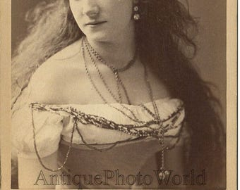 Beautiful theater opera ? actress long haired woman antique cabinet photo Gurney