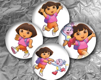 "Dora The Explorer -  15 Images in 1 Inch Circles 4"" x 6"" Digital Collage Sheet For Bottle caps, Cupcake Toppers"