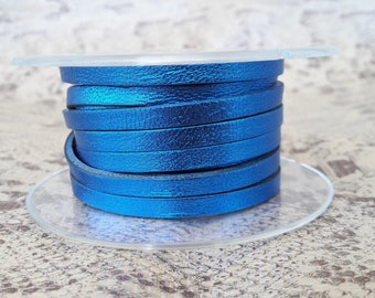 Blue metal 5mm flat leather European quality