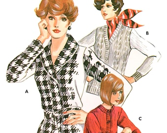 70s Kwik Sew 504 Long Sleeved Cardigan in Three Variations, Uncut, Factory Folded, Sewing Pattern Size S-XL