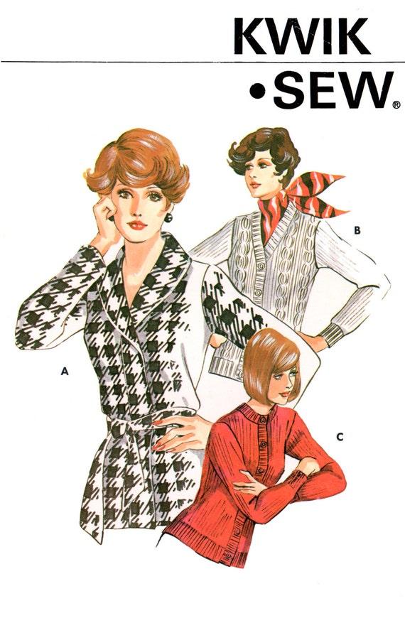 70s Kwik Sew 504 Long Sleeved Cardigan in Three Variations, Uncut ...