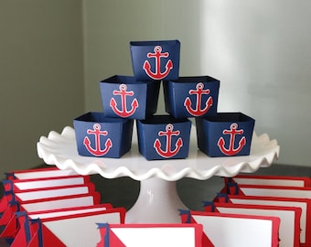 Nautical Package, Candy Cups Place Cards Anchors Sailboats, Baby Shower, Navy Red White, 24 Pcs