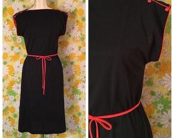 SALE! 80s Vintage Black T-Shirt Dress Medium