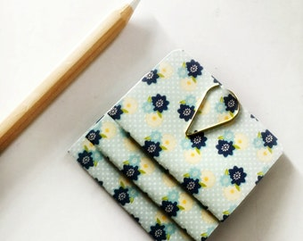 Mini Blank Books {3} Pale Blue Yellow Floral | Mini Notebooks | Mini Journals | Blue Blank Books | Wedding | Mothers Day Gift | Gift under 5