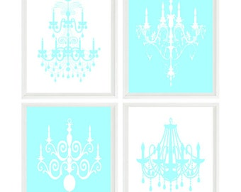 Chandelier Wall Art,  Aqua White, Girl Room Decor, Chandelier Prints, French Decor, Modern Wall Art, Girl Wall Art, Chandelier Silhouette