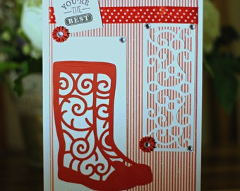 You're The Best, Handmade Greetings Card, Red Wellies