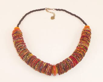 Ethnic necklace fabric Wax and earthy Orange tones beads