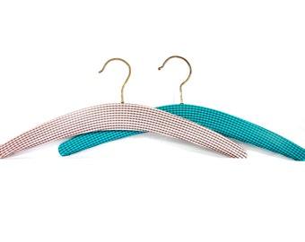 Vintage Checkered Coat Hangers Set of 2 Retro Clothes Hangers Pink Blue