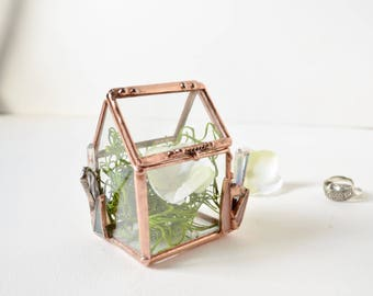 House Ring Box, Glass Jewelry Box, Gift For Her, Gift For Girlfriend, Gift For Sister, Wedding Display Box