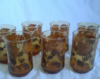 Vintage Libbey Amber Daisy Glasses, Set of 7, 1970's