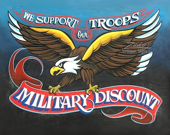 Military Discount , Support Our Troops  Shop Print, Americana,  Tattoo Shop , thank a vet