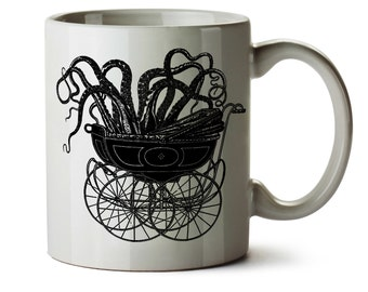 Octopus in Baby Carriage HP Lovecraft -  Dishwasher Safe Coffee Mug -  Add Own Text to Personalize