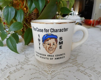 Vintage 1971 SME Boy Scouts of America Evergreen Area Council Ceramic Mug - ***FREE SHIPPING***