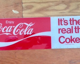 Enjoy Coca-Cola vintage sign Coke It's the real thing advertising campaign vintage sign acrylic plexiglass sign red white Coke
