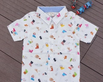 Hawaiian shirt boy-cat cotton 100%