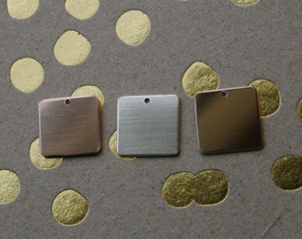 13mm Square, 20g 14K Gold Filled,  Sterling Silver, Rose Gold Filled, Hole Drilled, Personalize Stamping