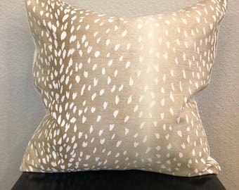 Deer/ Fawn Patterned Pillow Cover, Deer Pillow, Animal Print, 18x18 inch