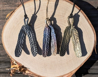Forged Steel Feather Pendant