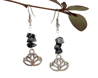 Lotus charm earrings Obsidian jewelry pagan Silver lotus earrings New age jewelry lotus Snowflake obsidian earring new age Pagan earring Lyi