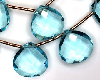 Calibrated 14mm Vivid 3 Matched Pairs-AAA-Sky Blue Topaz Quartz Faceted Heart Shape Briolette-Superfinest Quality