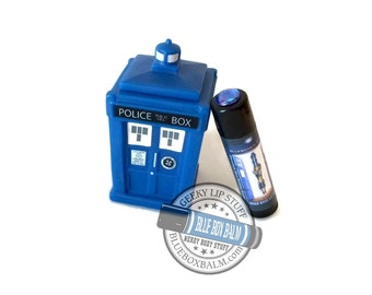 12th Sonic Screwdriver - Cinnamon Rice Pudding Brain Flavor Doctor Who Inspired Lip Balm Geek Stix - Blue Shimmer & Gem