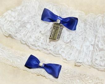 Doctor Who Wedding Garter  - Blue Tardis Wedding Garter, DOCTOR WHO WEDDING, Dr. Who lingerie garderbelt, Geekery Wedding accessories