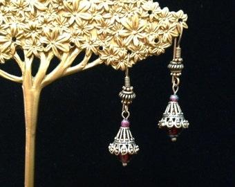 Copper Garnet Bell Earrings