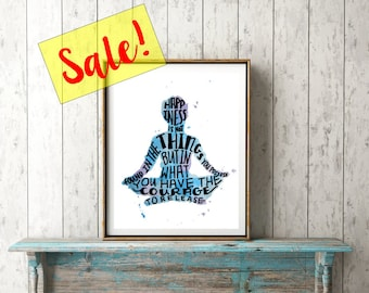 SALE Happiness Quote Print Meditation Art - Inspirational Quote Print Yoga Art Purple and Blue Meditation Decor - Meditation Room Yoga Gifts