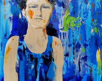 Resolute - a mixed media painting by Theresa Wells Stifel abstract, figural woman