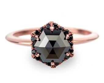 1.18tcw Black Diamond Rose Gold Engagement Ring, Hexagon Halo