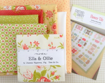 Kit: Flower Tile quilt kit featuring Ella & Ollie (daisy backing)