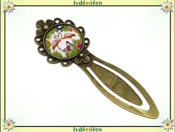 Bookmarks Flamingo flowers Butterfly brass and resin pink green white lime purple bronze mothers birthday gift