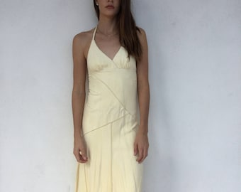 Chic 90s does 70s suede halter dress