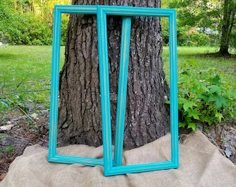 Empty Photo Frames, picture frames, open frames, wedding decorations, photo props frames, wedding photo props, gallery, teal frame set