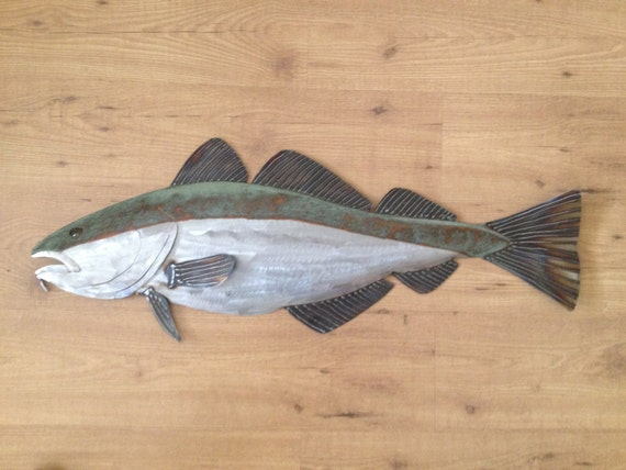 Cod Fish Metal Sculpture 36in Tropical Beach Coastal Wall Art