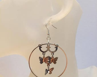 Earrings charm Butterfly hoop
