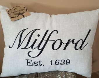 Established Pillow, Established Date, Established Decor, Wedding Gift Pillow, Anniversary Pillow, City Pillow, Personalized Decor Pillow