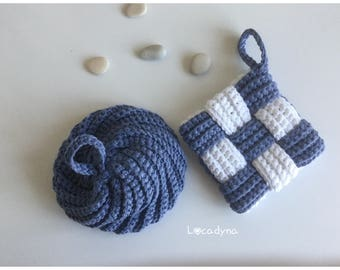 Crochet Tawashi cotton blue Polyester white gift invitation-housewarming-cleaning sponges kitchen bathroom - Hand Made Home scrubbies