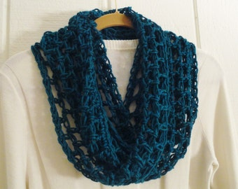 Crochet Infinity Scarf Lightweight LATTICE Design Teal Green 22 Colors Acrylic