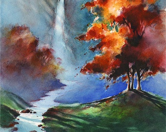 Cascade Falls - Watercolor Waterfall Painting Print by Michael David Sorensen. Fall Colors. Autumn Trees. Stream. Green. Red. Orange. Blue.