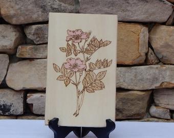 Wild Rose Woodburning Pyrography