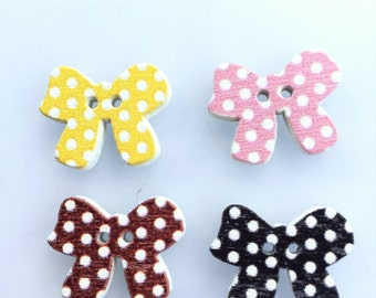 Bow Buttons Mixed Buttons - Pink Bow Tie Buttons - Polka Dot Button Sewing Notion - Wooden Buttons Craft Supply - Yellow Bow Painted Button